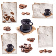 Collection of Coffee cup, old paper and coffee beans — Stockfoto