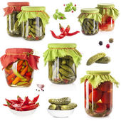 Collection of Pickles on glass jar — Stock Photo