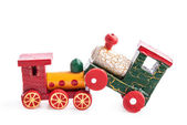 Wooden toy trains — Stock Photo