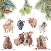 Collection of Christmas decoration - sheeps — Stok fotoğraf