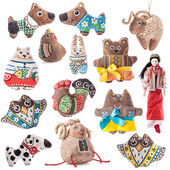 Collections of Ukrainian rag toy — Stock Photo