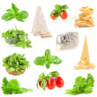 Collections of Fresh herbs, tomatoes, varied cheese and pasta — Stock Photo #49795493