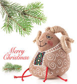 Christmas decoration toy sheep — Stock Photo