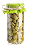 Capers preserved in glass jar — Stock Photo