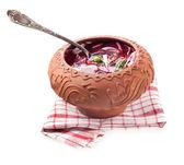 Beet soup - borsch in ceramic pots — Stock Photo
