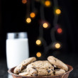 Choc Chip Cookies and Milk — Stock Photo