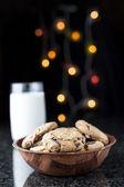 Choc Chip Cookies and Milk — Stock Photo