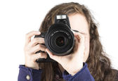 Teen taking a photo — Stock Photo