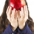 Teen holding a pomegranate — Foto Stock