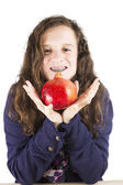 Teen holding a pomegranate — Stock Photo