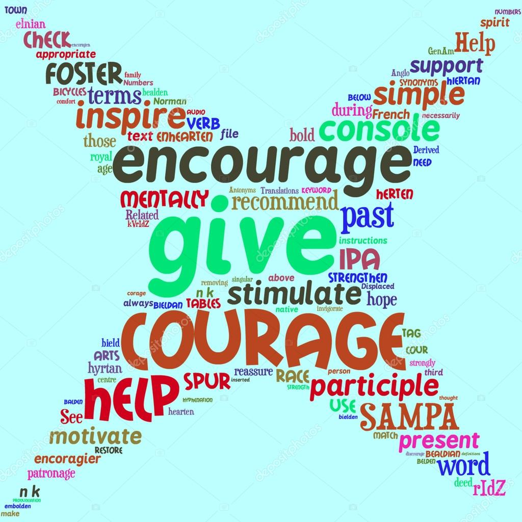 Encourage info-text graphics and arrangement concept (word clouds) — Stock Photo #13909526