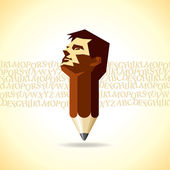 Pencil with male head — Stock Vector