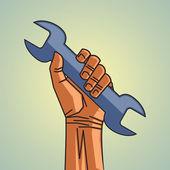 Hand holding screwdriver — Stock Vector