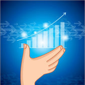 Hand showing business graph — Stock Vector