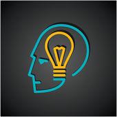 Bulb in human head — Stock Vector