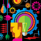 Thinking a creative idea — Stock Vector