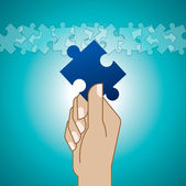 Hands and puzzle — Vector de stock
