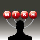 Silhouette human with wish button — Stock Vector
