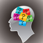Lidská hlava se symbolem otazníku. — Stock vektor