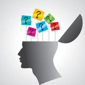 Mänskliga huvudet med frågetecken tag — Stockvektor