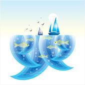 Kleine fische im meer th — Stockvektor