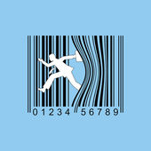 Man leaning up against bar code — Stock Vector