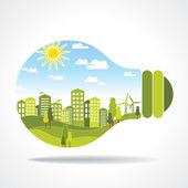 電球の中の都市 — ストックベクタ