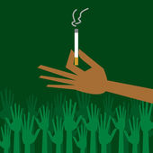 Man hand holding a cigarette with smoke — Vector de stock