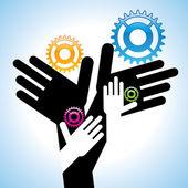 Version of hands gears concept — Stock Vector