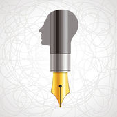 Pen with human head — Stock Vector