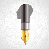Pen with human head — Stock Vector