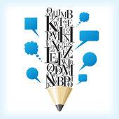 Idéia de lápis e discurso — Vetor de Stock