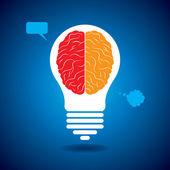 Brain with idea bulb — Stock Vector
