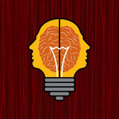 Concept of brain with bulb as a solution to proble — Vector de stock