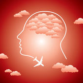 Human head and aero plane — Stock Vector