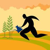 Mann, die bewässerung von pflanzen — Stockvektor