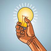 Man hand holding bulb — Stock Vector