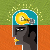 Männlichen kopf silhouette mit zwiebel — Stockvektor