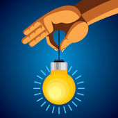 Man hand holding colorful bright incandescent light bulb — Stock Vector