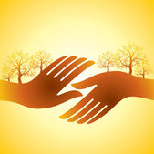 Hand shake with trees — Stock Vector