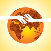 Gruppe von händen und globus — Stockvektor