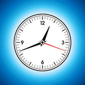 Large white wall clock on a blue background — Stock Vector