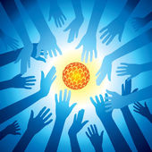 Hands hold set of bulb idea, save energy — Stock Vector