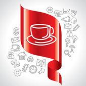 Icônes de navigation et tasse de thé — Vecteur