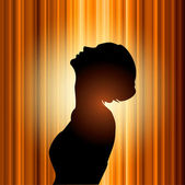 Beautiful sexy woman isolated on backlight — Stock Vector