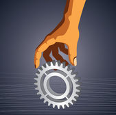 Gear in hand with blank space — Stock Vector