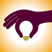 Lampa i mänsklig hand — Stockvektor
