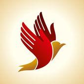 Sinek kuşu el — Stok Vektör