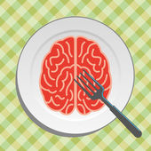 Brain food on plate — Stock Vector