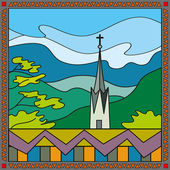 Church on top of the mountains — Stock Vector